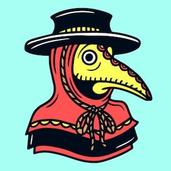 Plague doctor old school tattoo illustration