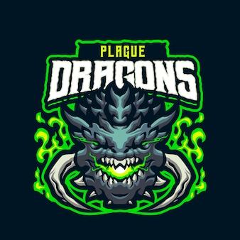 Логотип талисмана головы чумного дракона для киберспорта и спортивной команды