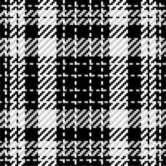 Plaid check pattern in black and white. seamless texture fabric background.
