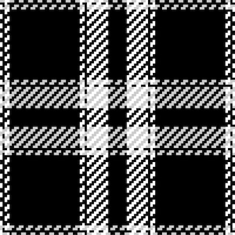 Plaid check pattern in black and white Premium Vector