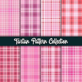 Plaid checkered fabric pattern and seamless pink collection.