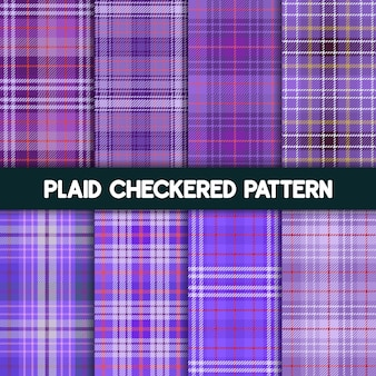 Plaid checkered fabric pattern and seamless purple collection
