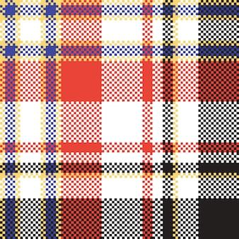 格子縞のモザイクピクセルのシームレスパターン