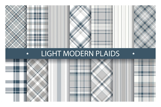 Plaid pattern seamless ornate. set light color vector background. fabric texture collection.
