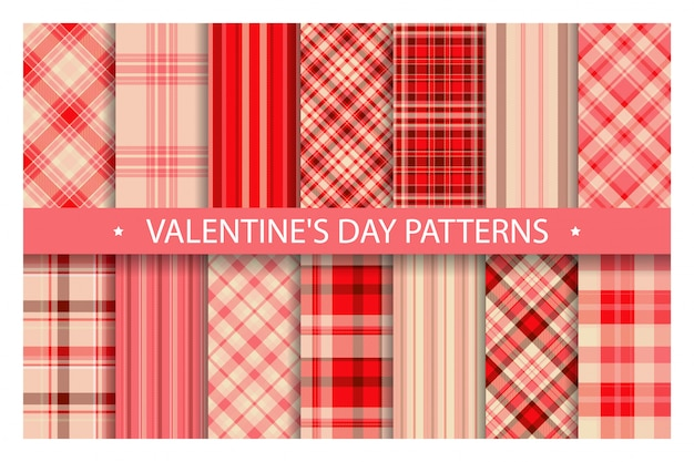 Plaid pattern seamless ornate. set valentines day vector background. fabric texture collection.