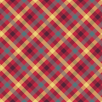 Plaid red color seamless vector pattern