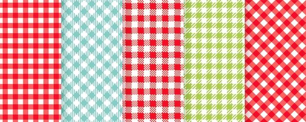 격자 무늬 완벽 한 패턴입니다. 체크 무늬 질감입니다. 피크닉 냅킨. 타탄 배경입니다. 깅엄 프린트 설정 프리미엄 벡터