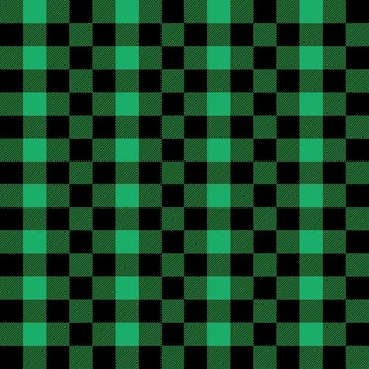 Plaid seamless pattern in green and black tartan plaid  buffalo check gingham style