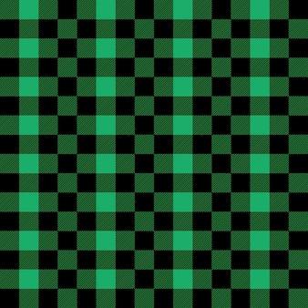 緑と黒のタータンチェックのバッファローチェックギンガムスタイルのチェック柄のシームレスパターン