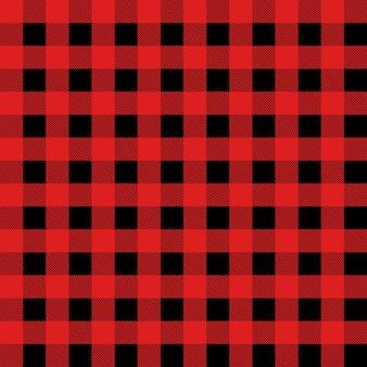 赤と黒のタータンチェックのバッファローチェックギンガムスタイルのチェック柄のシームレスパターン