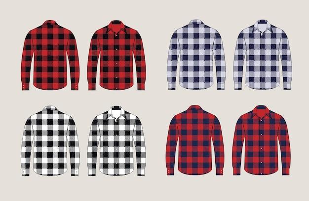 チェック柄のシャツのパターン化された正面図と背面図のデザイン