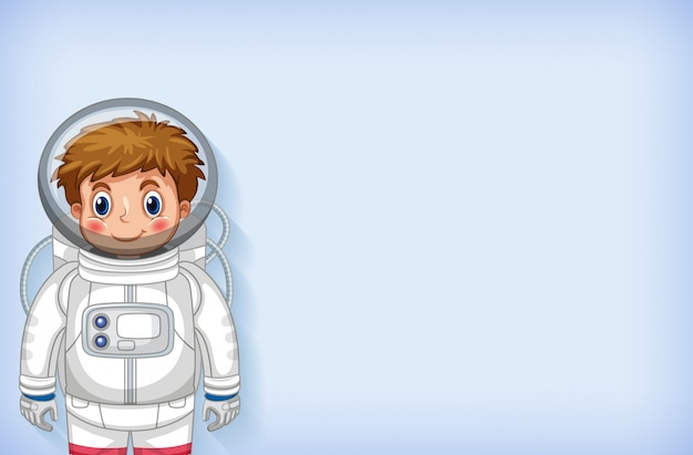 Plain background template with happy astronaut smiling