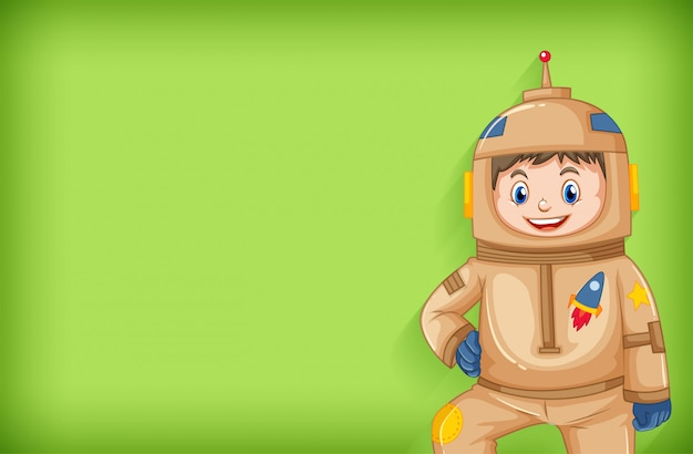 Plain background with astronaut in brown outfit