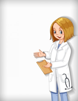 Plain background with female doctor smiling