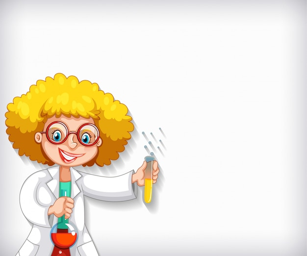 Plain background with female scientist doing experiment