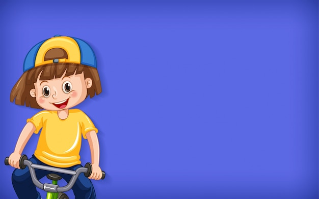 Plain background with happy girl riding bicycle