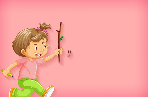 Plain background with happy girl with a wooden stick