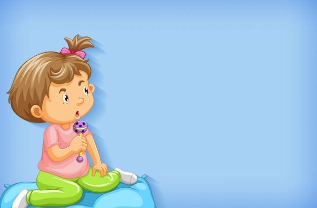Plain background with little girl playing in bed