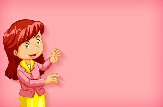 ピンクのジャケットの女性と無地の背景
