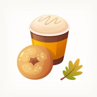 Обычный пончик, покрытый сахаром, и бумажный стаканчик, наполненный кофе со сливками