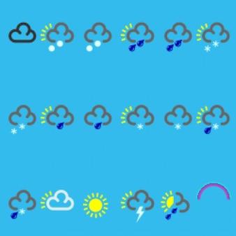 Plain traces weather icon vectors set
