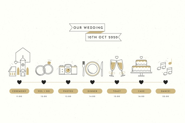 Plain wedding timeline in lineal style