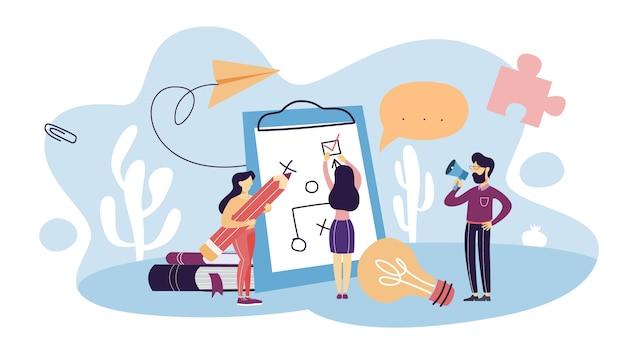 計画のコンセプト。事業計画と戦略のアイデア。目標または目標を設定し、スケジュールに従ってください。孤立したフラット