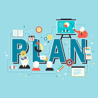 Plan concept , plan words with people in a meeting