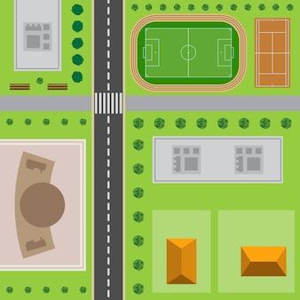 도시 계획. 도로, 고층 건물, 나무, 관목, 콘서트 홀, 경기장 및 테니스 코트가 있는 도시의 최고 전망.