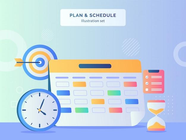 Plan and schedule illustration set marker date calendar of clock target goal hour glass clipboard