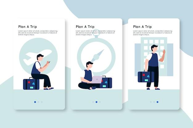 Plan a trip on boarding app screens