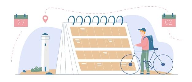休暇の時間を計画し、旅行先のイラスト。大きなカレンダーのリマインダーまたはプランナーの横に立っている自転車、観光ルート、観光コンセプトを計画している男性旅行者のキャラクター