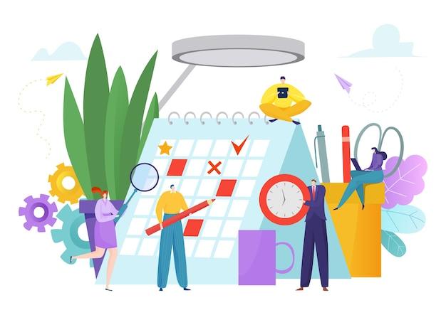 Планируйте время работы в календаре концепции иллюстрации