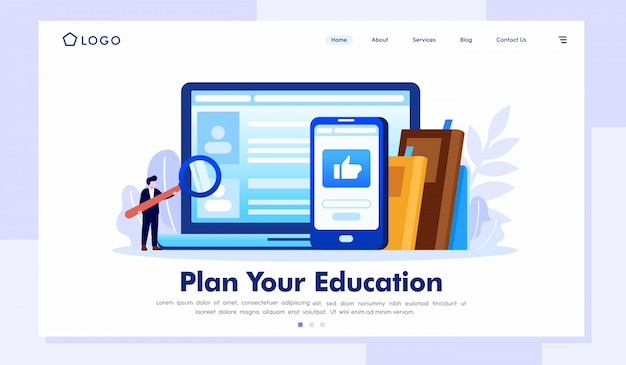Plan your education landing page website illustration vector