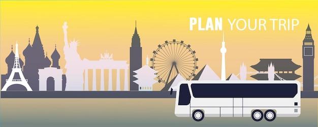 여행 벡터 평면 그림, 비행기, 유명한 관광지, 에펠탑, 자유의 여신상, 빅 벤, 센소지 사원, 브란덴부르크 문, 피라미드, 크렘린, 관람차, 버스를 계획하세요.