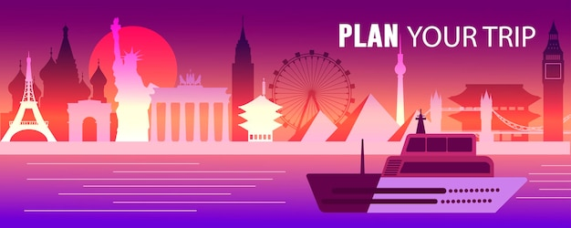 여행 벡터 평면 그림, 비행기, 유명한 관광지, 에펠탑, 자유의 여신상, 빅 벤, 센소지 사원, 브란덴부르크 문, 피라미드, 크렘린, 관람차, 배를 계획하세요.