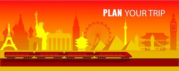 여행 벡터 평면 그림, 비행기, 유명한 관광지, 에펠탑, 자유의 여신상, 빅 벤, 센소지 사원, 브란덴부르크 문, 피라미드, 크렘린, 관람차, 기차를 계획하세요.