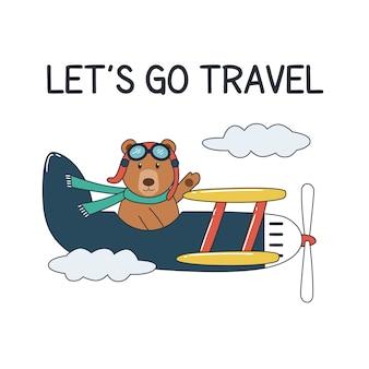 Plane and bear illustration. Let's go travel