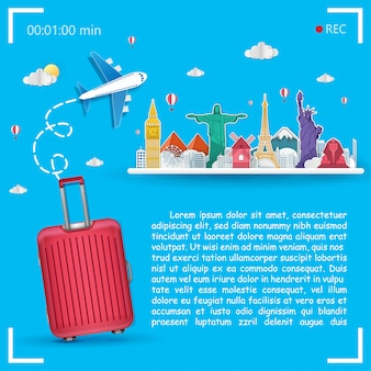 Plane and luggage accessories travel around the world