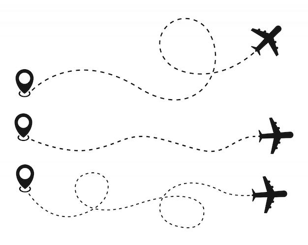 白い背景の上の飛行機とトラックのアイコン。