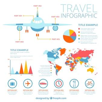 飛行機と旅行インフォグラフィック要素