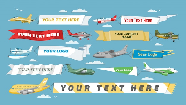 Plane banner  airplane or aircraft with blank message advertisement and text template ad in illustration