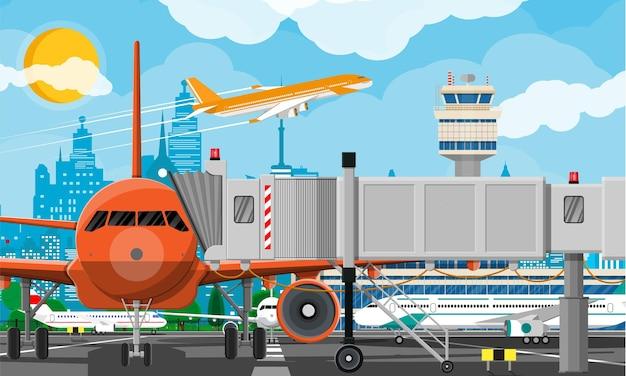 Самолет перед взлетом. диспетчерская вышка аэропорта, взлетно-посадочная полоса, здание аэровокзала и парковка. cit