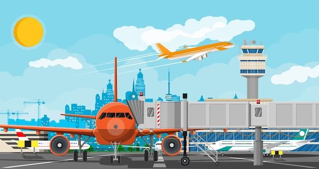 Самолет перед взлетом. диспетчерская вышка аэропорта, взлетно-посадочная полоса, здание аэровокзала и парковка.