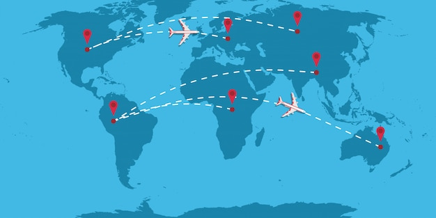 Plane dotted line path direction vector illustration travel map