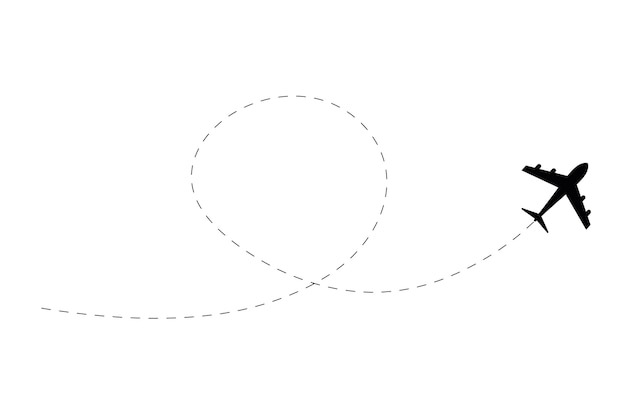 Plane drawing with dotted route