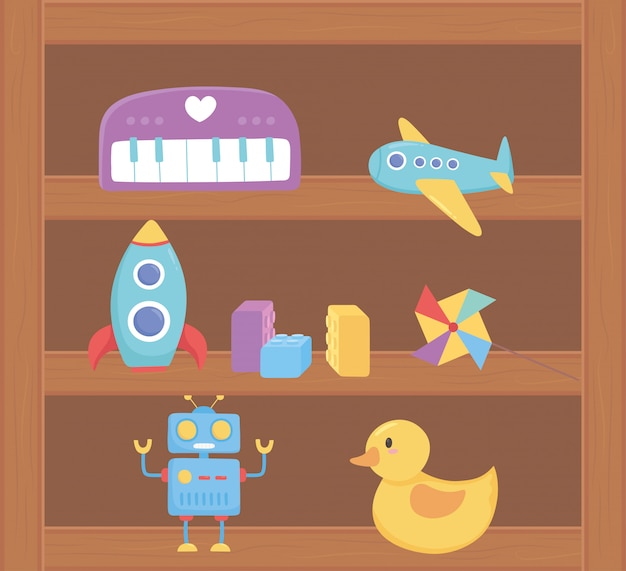 Plane duck robot rocket toys object for small kids to play cartoon on wood shelf