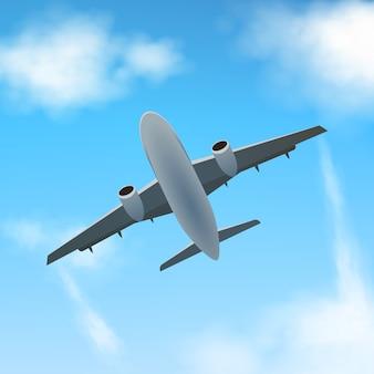 Самолет летит высоко в облаках, вид снизу. реалистичный самолет и облака.