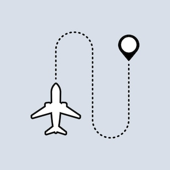The plane flies icon. map pointer. trip concept. vector on isolated background. eps 10.