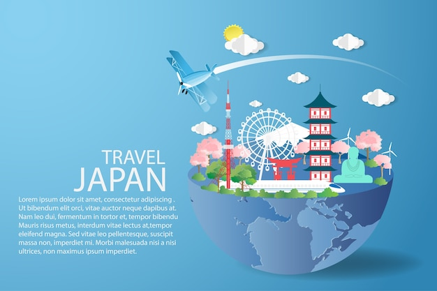 Plane fly over blue sky with travel japan concept.